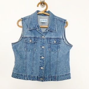 L.A. Blues Jackets & Coats - L.A. Blues Denim Button-up Vest Mid Wash XL #2804